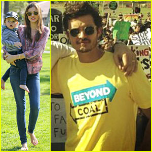 Miranda Kerr & Orlando Bloom: Climate Change Rally!