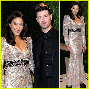 Paula Patton & Robin Thicke - Vanity Fair Oscars Party 2013