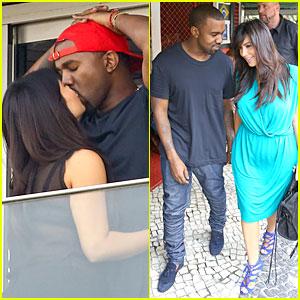 Pregnant Kim Kardashian & Kanye West: Kisses in Rio!