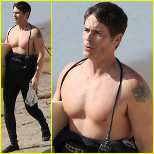 Rob Lowe: Shirtless Super Bowl Sunday Surfing!