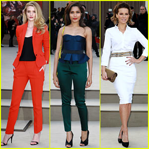 Rosie Huntington-Whiteley & Freida Pinto: Burberry Fashion Show