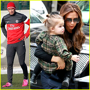 Victoria Beckham & Harper Go Shopping, David Hits the Field