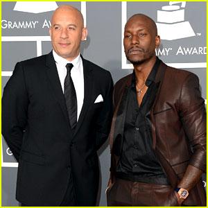 Vin Diesel & Tyrese Gibson - Grammys 2013 Red Carpet
