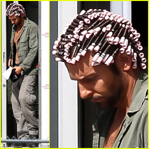Bradley Cooper: Hair Rollers & Shirtless on Set!