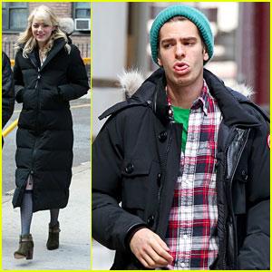 Emma Stone Films 'Spider-Man,' Andrew Garfield Enjoys Day Off