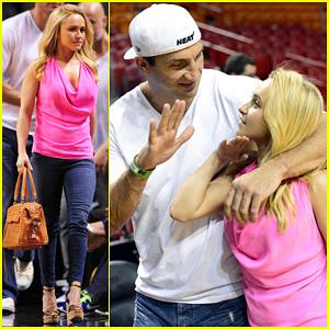 Hayden Panettiere: Miami Heat Game with Wladimir Klitschko!