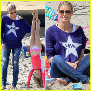Heidi Klum: Beach Handstands with Leni!