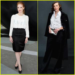 Jessica Chastain & Milla Jovovich: Chanel Fashion Show!