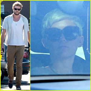 Liam Hemsworth Shops with Friends, Miley Cyrus Visits Studio