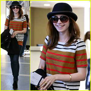 Lily Collins: Bowler Babe at LAX!
