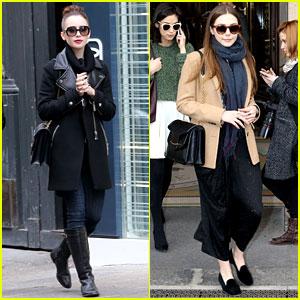 Lily Collins & Elizabeth Olsen: Paris Fashion Week Fun!