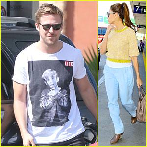 Ryan Gosling & Eva Mendes: Separate LAX Airport Arrivals!