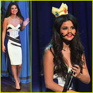 Selena Gomez: Mustache Beauty on 'Fallon'!