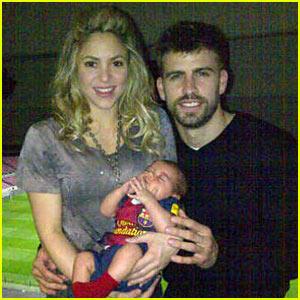 Shakira & Gerard Pique: Family Portrait with Baby Milan!