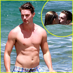 Shirtless Patrick Schwarzenegger & Taylor Burns: Kissing!