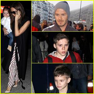 Victoria Beckham & Kids Arrive at LAX, David Beckham Practices in Paris