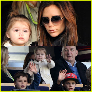 Victoria Beckham & Kids Cheer on David Beckham!