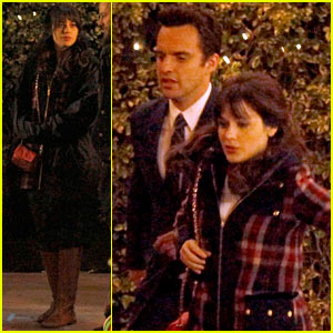 Zooey Deschanel: Beso 'New Girl' Filming!