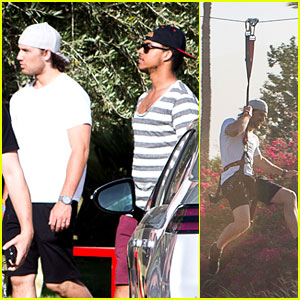Alex Pettyfer & Connor Cruise: Coachella Zip-lining!
