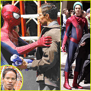 Andrew Garfield & Jamie Foxx: 'Amazing Spider-Man' Filming Duo!