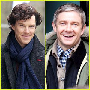 Benedict Cumberbatch: 'Sherlock' Set with Martin Freeman!