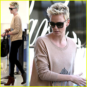Charlize Theron: Zebra Sweater at the Airport!