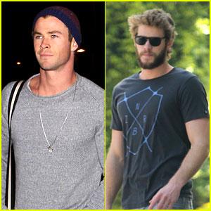 Chris Hemsworth Catches Flight, Liam Goes Skateboarding