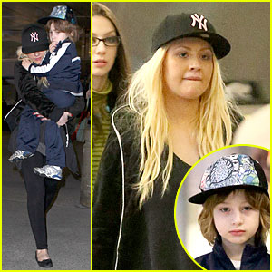 Christina Aguilera & Max: LAX Arrival After Tokyo Heaven!