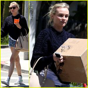 Diane Kruger Picks Up Boxes & Fro-Yo!