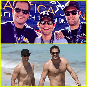 James Marsden & Shirtless Geoff Stults: Nautica Triathlon!
