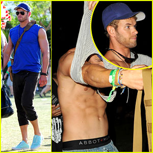 Kellan Lutz: Shirtless Clothes Change at Coachella 2013!