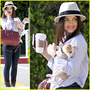 Lucy Hale: Photo Shoot Pretty With a Puppy!