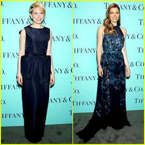 Michelle Williams & Jessica Biel: Tiffany Blue Book Gala!