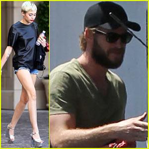 Miley Cyrus Rocks Metallic Heels, Liam Hemsworth Works it Out