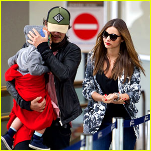 Miranda Kerr & Orlando Bloom: Easter Landing with Flynn!