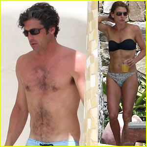 Patrick Dempsey: Shirtless Poolside Fun with the Family!