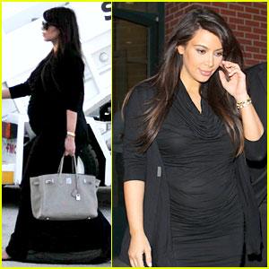 Pregnant Kim Kardashian Lands in Greece with Family