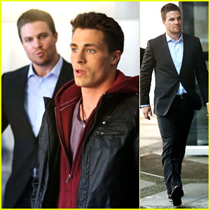 Stephen Amell & Colton Haynes: 'Arrow' Interior Scenes!