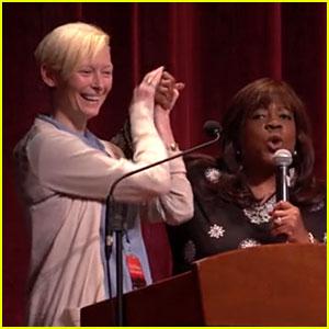 Tilda Swinton Leads Dance Along in Roger Ebert's Memory!