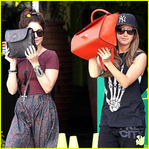 Vanessa Hudgens & Ashley Tisdale Hide Behind Their Bags