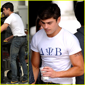Zac Efron: Frat Tattoo on Bulging Bicep for 'Townies'!