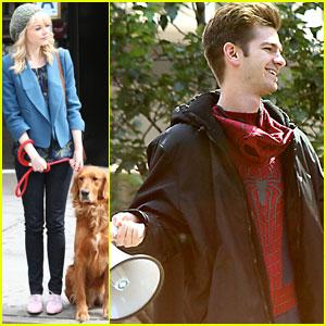 Andrew Garfield Films 'Spider-Man 2', Emma Stone Watches Dog