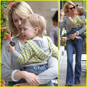 Baby Xander Grabs January Jones' Sunglasses Off Her Face!