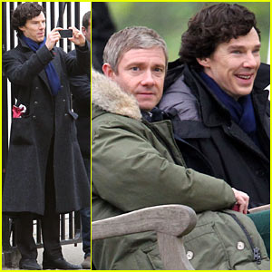 Benedict Cumberbatch & Martin Freeman Film 'Sherlock' Season 3