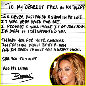 Beyonce Writes Apology Note After Cancelled Concert