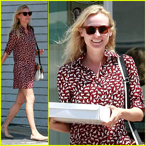 Diane Kruger: Cat Print Dress at the Bakery!