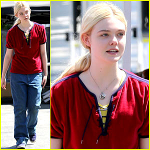 Elle Fanning Hangs Out on 'Low Down' Set