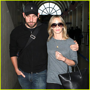 Emily Blunt & John Krasinski Return to Los Angeles