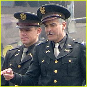George Clooney & Matt Damon: Uniformed 'Monuments Men'