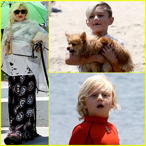 Gwen Stefani Spends Beach Day with Kingston & Zuma!
